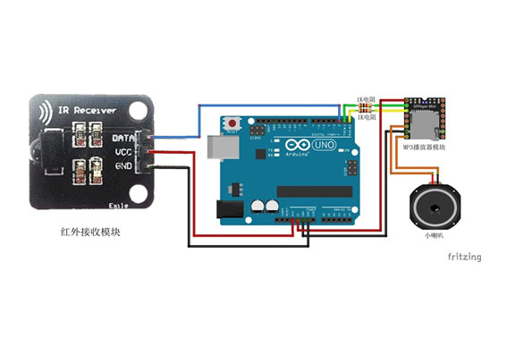 基于Arduino的红外遥控器控制MP3播放(MP3音乐模块、红外接收模块、红外遥控器)