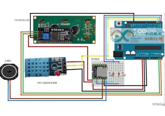 基于Arduino的开空调提醒实验(MP3模块、温湿度模块、1602显示屏)
