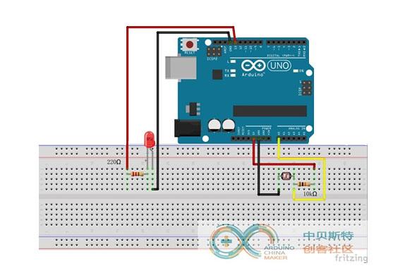 基于Arduino的光控灯实验(光敏电阻、LED)