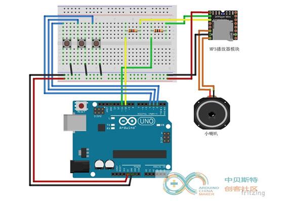 基于Arduino的按键控制音乐播放器实验(MP3音乐播放器模块)