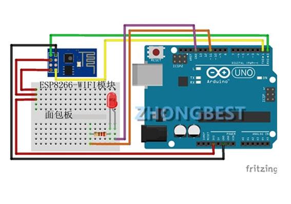 手机通过ESP8266控制Arduino上的LED灯(局域网AT指令方式)