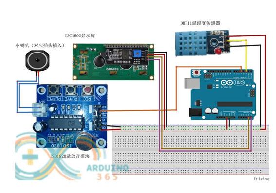 基于Arduino的开空调提醒实验(温湿度模块、语音录放、1602显示屏)